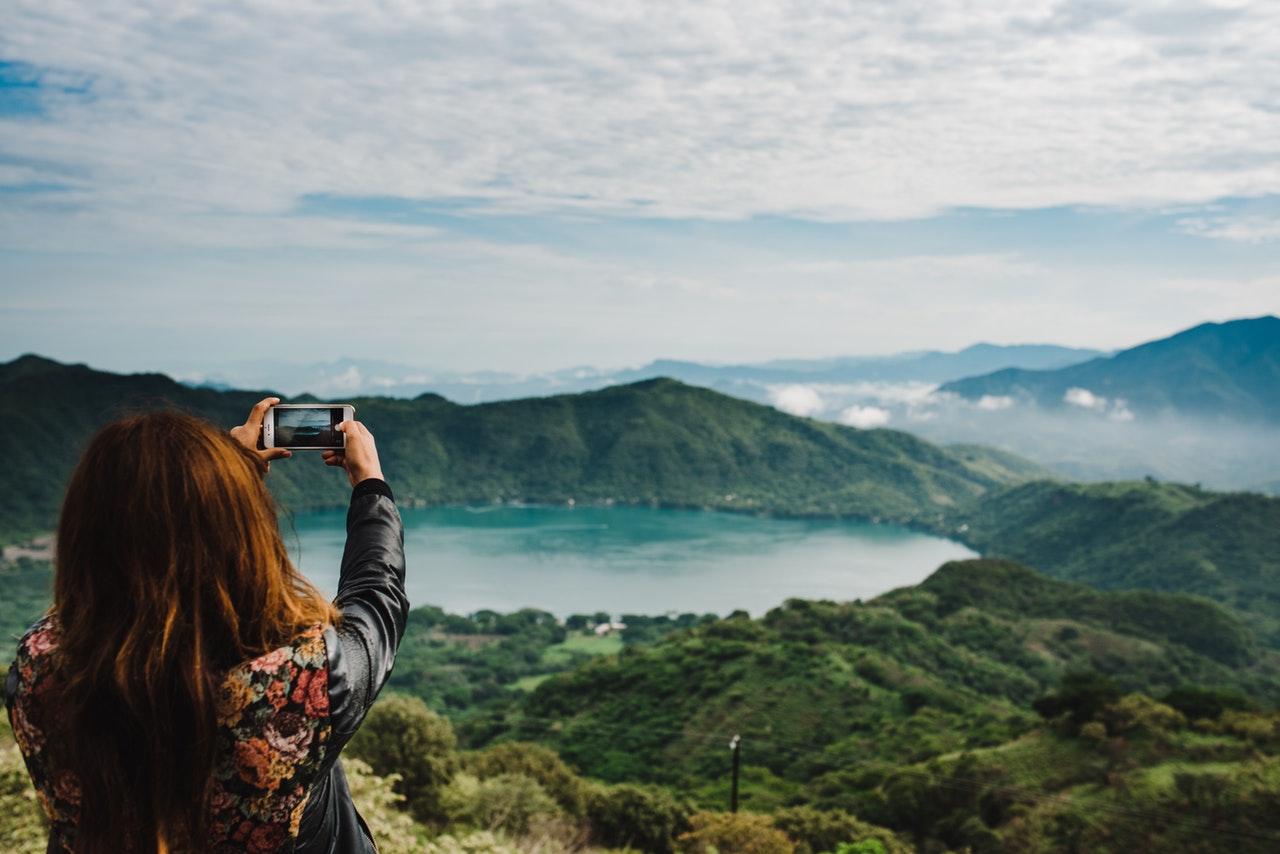 taking photo mountain